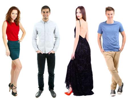 Collage de las modelos aislados en blanco