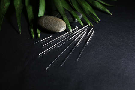 Composition with needles for acupuncture, close up. Stock Photo - 27185823