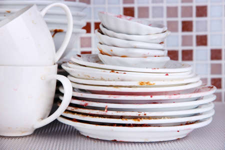 dirtiness: Dirty dishes on bright  Stock Photo