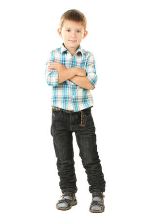 five year: portrait of little boy isolated on white  Stock Photo