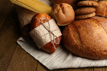 bakery products: Bakery products on wooden table Stock Photo