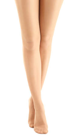 stocking feet: Stockings on perfect woman legs, isolated on white