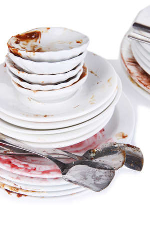 dirtiness: Dirty dishes close up Stock Photo