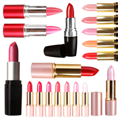 Beautiful lipsticks isolated on white photo
