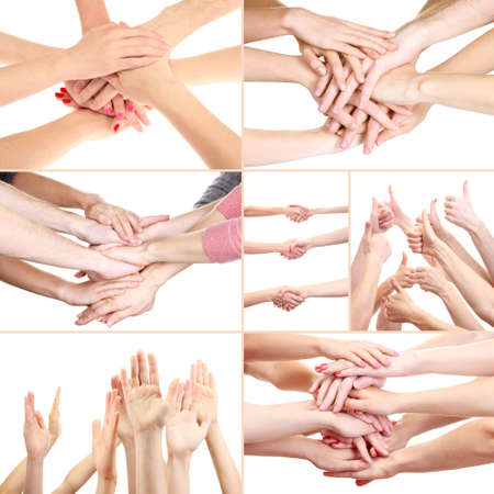 handshakes: Collage of young peoples hands