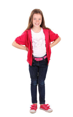 beautiful little girl in sport clothes isolated on white photo