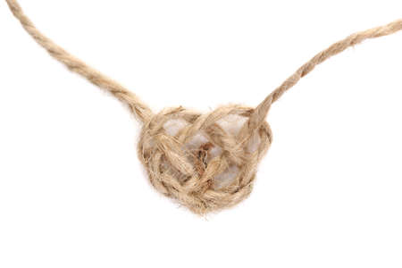 Heart shape from rope, isolated on white photo