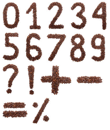 exclamation mark: Coffee numbers isolated on white