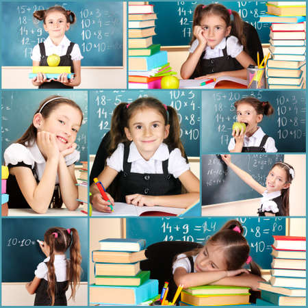 Collage of school girl close-up photo