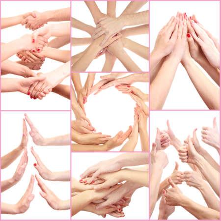 poign�es de main: Collage des mains des jeunes