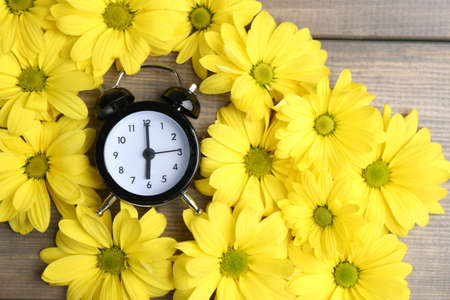 Alarm clock and beautiful flowers on blue wooden background photo