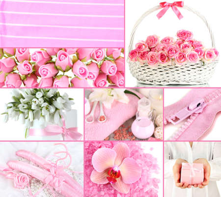 Collage of photos in light pink colors photo