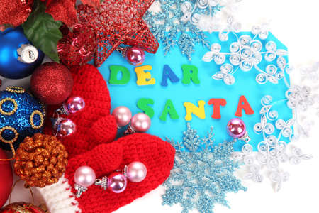 Letter to Santa Claus isolated on white photo