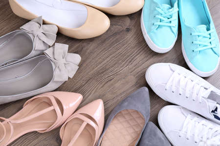 bootstrap: Different shoes on floor Stock Photo