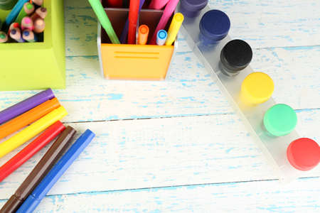 craft material: Composition of various creative tools  on color wooden background Stock Photo