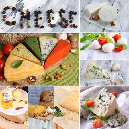 Collage of delicious cheeses photo