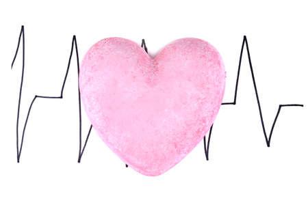 cardioid: Corazón en el fondo cardiograma, aislado en blanco