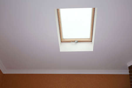 Roof skylight in new modern attic room stock photo picture and