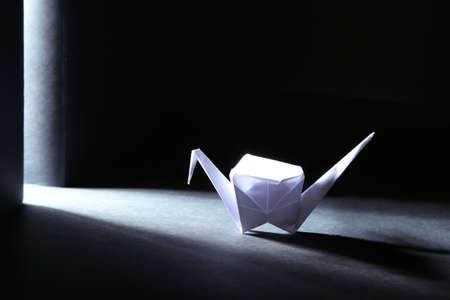 Origami crane on dark background with light photo