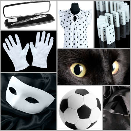 Collage of photos in white and black colors photo
