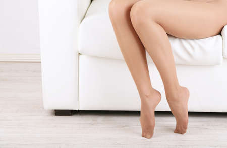 nylons: Stockings on perfect woman legs, close up