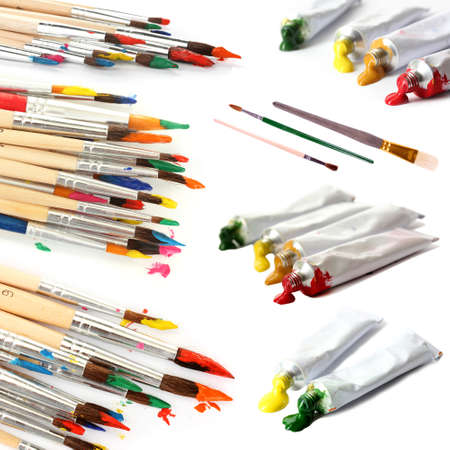 Collage of paint brushes with acrylic paint in tubes isolated on white photo