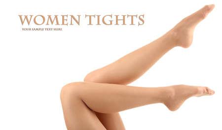 pantimedias: Medias de las piernas de mujer perfectos, aislados en blanco Foto de archivo
