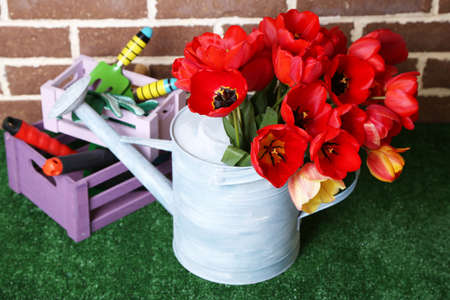 Composition of colorful tulips in watering can and equipment for gardening on bright background photo