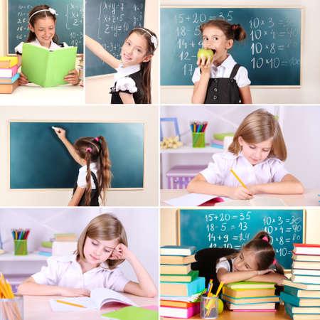 Collage of school children close-up photo