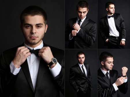Snapshot of model. Handsome man on black  Stock Photo - 29127621