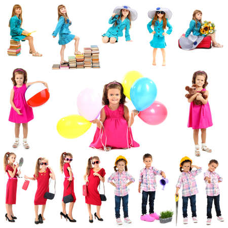 Collage of cute children isolated on white photo