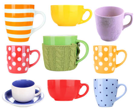 Collage of colorful mugs isolated on white