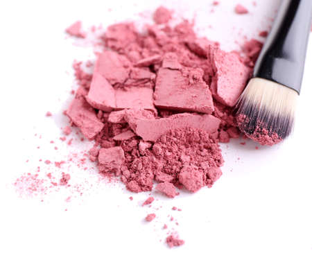 Crushed eyeshadow with brush isolated on white  Stock Photo - 28184305
