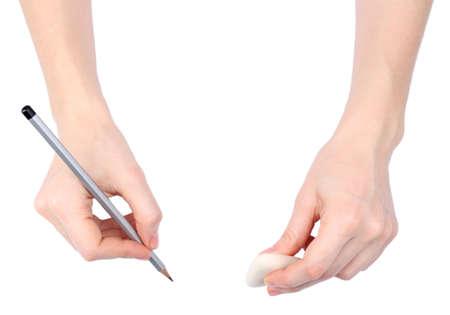 Human hands with pencil and erase rubber, isolated on white photo