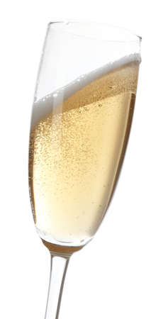 champagne glass: Glass of champagne, isolated on white