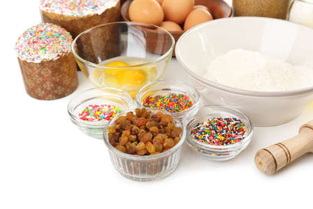 Ingredients for Easter cake isolated on white  photo