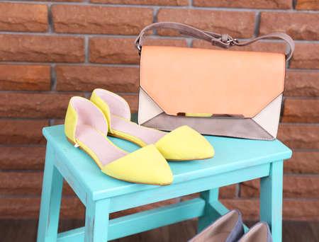 shoe shelf: Shoe shelf with women shoes and fashion bag