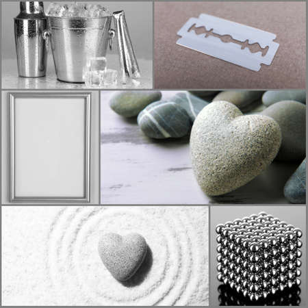 magnetic stones: Collage of different objects in shades of gray