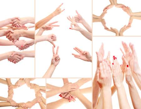 manos estrechadas: Collage de las manos de los jóvenes