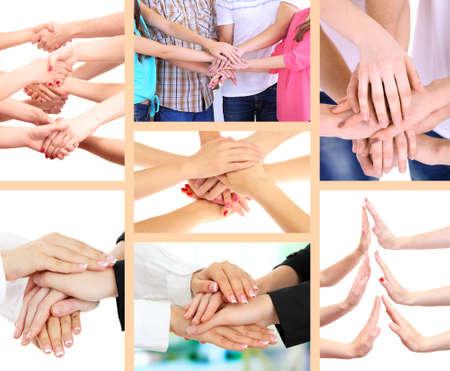 manos estrechadas: Collage de las manos de los j�venes