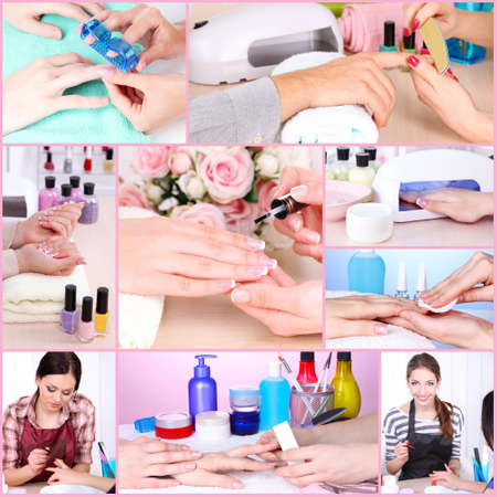 Collage of manicure process in salon photo
