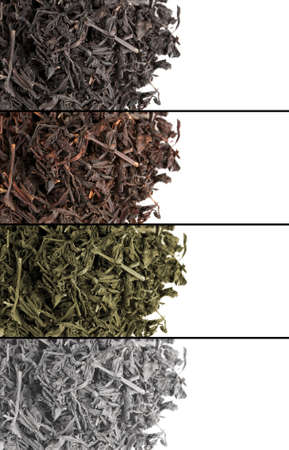 Collage of aromatic dry tea isolated on white photo
