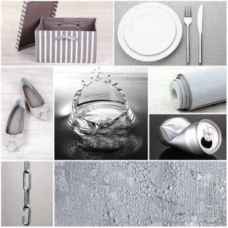 Collage of different objects in shades of gray photo