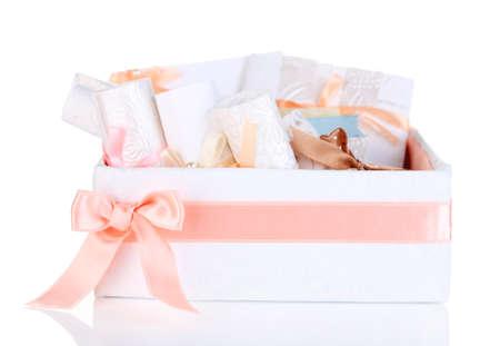 Beautiful handmade wedding cards in box, isolated on white photo