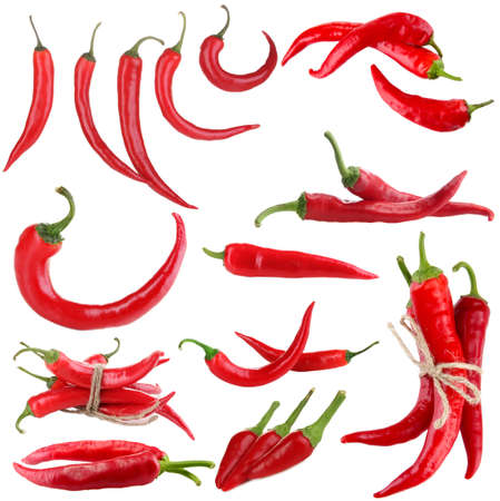 Red hot chili pepper collage, isolated on white photo