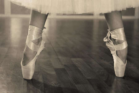 Ballerina legs in pointes in shades of grey photo