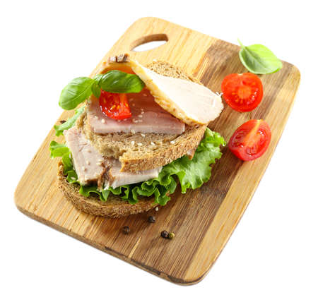 Delicious sandwiches with meet isolated on white photo