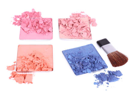 Crushed eyeshadow with brush isolated on white Stock Photo - 28339356