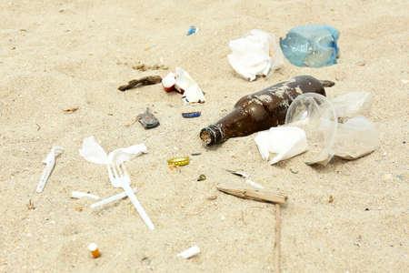 Garbage on the beach photo