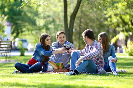 Happy friends on picnic in park photo